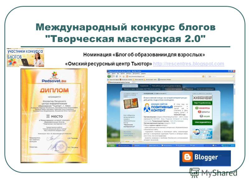 Международный конкурс блогов Творческая мастерская 2.0 Номинация «Блог об образовании для взрослых» «Омский ресурсный центр Тьютор» http://rescentres.blogspot.comhttp://rescentres.blogspot.com