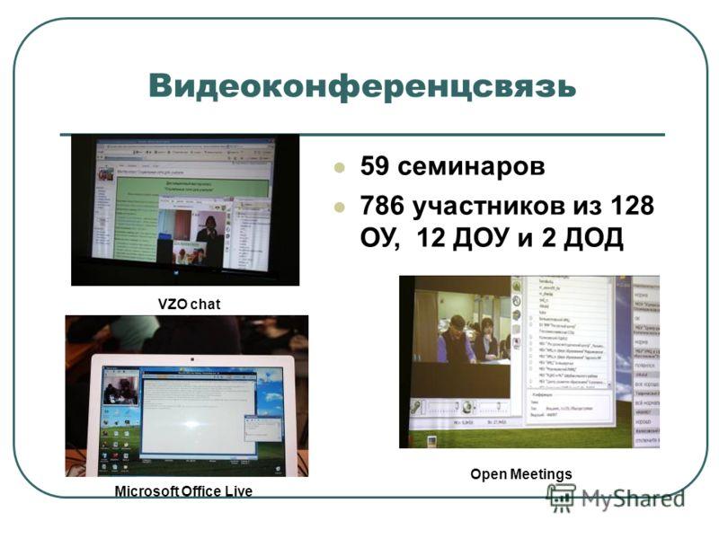 Видеоконференцсвязь 59 семинаров 786 участников из 128 ОУ, 12 ДОУ и 2 ДОД VZO chat Microsoft Office Live Open Meetings