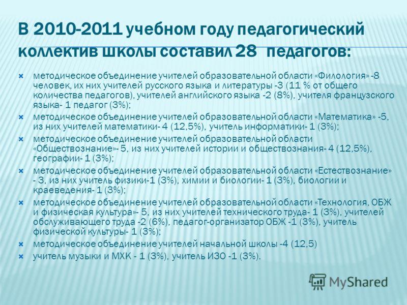 В 2010-2011 учебном году педагогический коллектив школы составил 28 педагогов: методическое объединение учителей образовательной области «Филология» -8 человек, их них учителей русского языка и литературы -3 (11 % от общего количества педагогов), учи