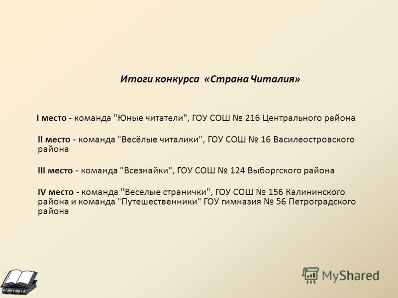 Итоги конкурса «Страна Читалия» I место - команда