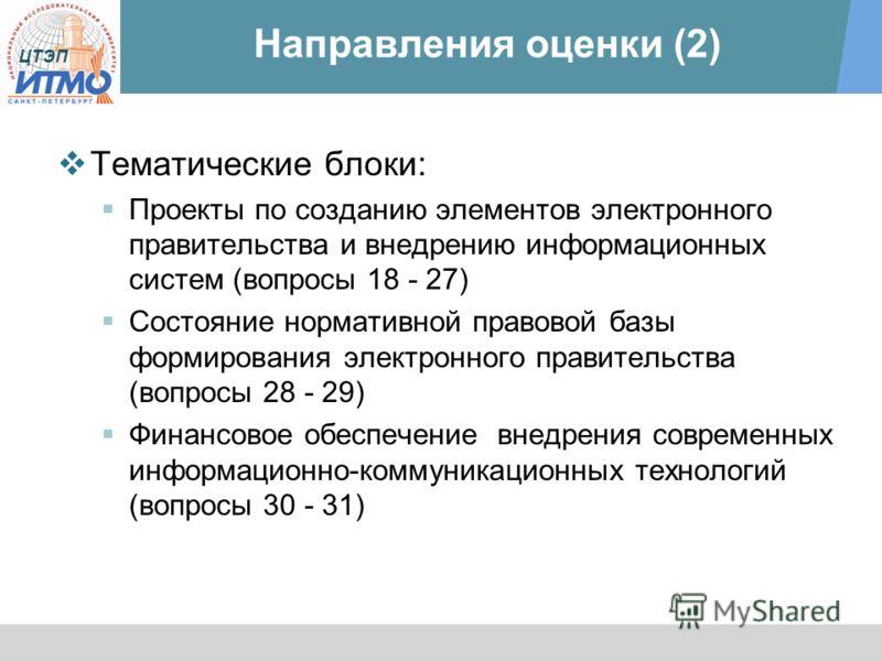 ЦТЭП Направления оценки (2) Тематические блоки: Проекты по созданию элементов электронного правительства и внедрению информационных систем (вопросы 18 - 27) Состояние нормативной правовой базы формирования электронного правительства (вопросы 28 - 29)