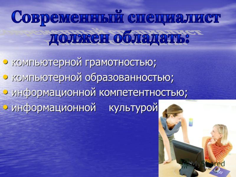 компьютерной грамотностью; компьютерной грамотностью; компьютерной образованностью; компьютерной образованностью; информационной компетентностью; информационной компетентностью; информационной культурой. информационной культурой.