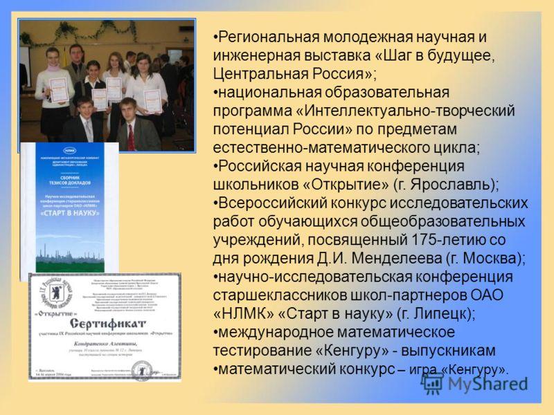 Региональная молодежная научная и инженерная выставка «Шаг в будущее, Центральная Россия»; национальная образовательная программа «Интеллектуально-творческий потенциал России» по предметам естественно-математического цикла; Российская научная конфере