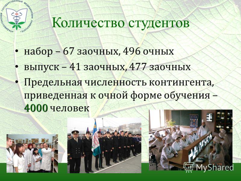 Количество студентов набор – 67 заочных, 496 очных выпуск – 41 заочных, 477 заочных 4000 Предельная численность контингента, приведенная к очной форме обучения – 4000 человек