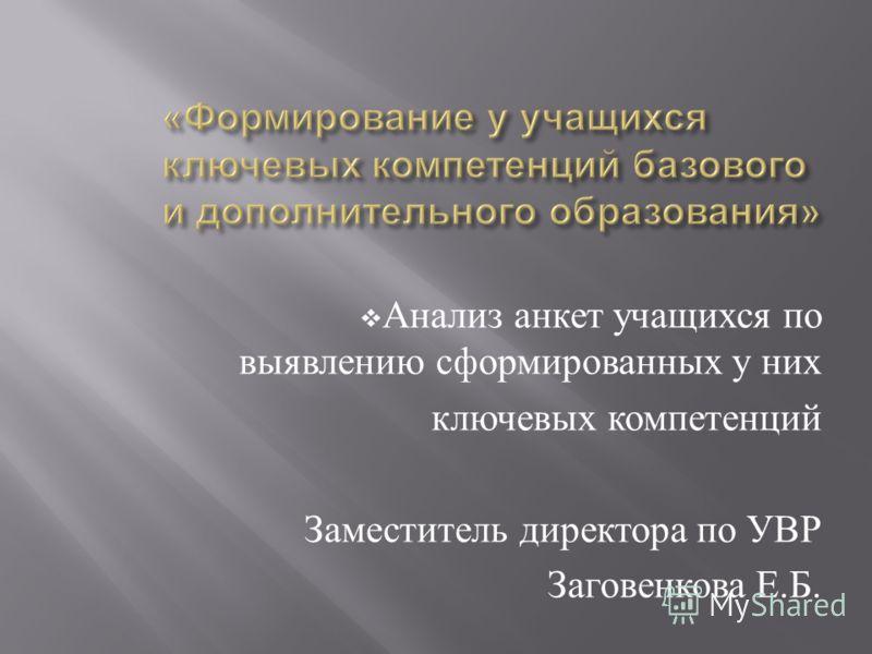 Анализ анкет учащихся по выявлению сформированных у них ключевых компетенций Заместитель директора по УВР Заговенкова Е. Б.