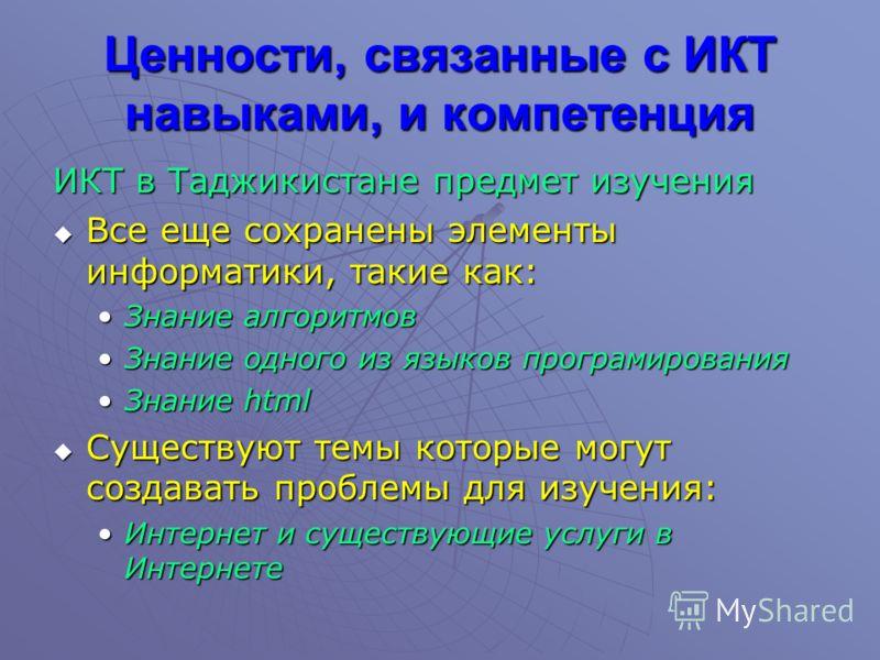 Ценности, связанные с ИКТ навыками, и компетенция ИКТ в Таджикистане предмет изучения Все еще сохранены элементы информатики, такие как: Все еще сохранены элементы информатики, такие как: Знание алгоритмовЗнание алгоритмов Знание одного из языков про