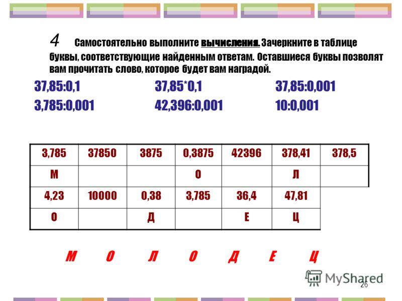 26 4 Самостоятельно выполните вычисления. Зачеркните в таблице буквы, соответствующие найденным ответам. Оставшиеся буквы позволят вам прочитать слово, которое будет вам наградой. 37,85:0,137,85*0,137,85:0,001 3,785:0,00142,396:0,00110:0,001 3,785378