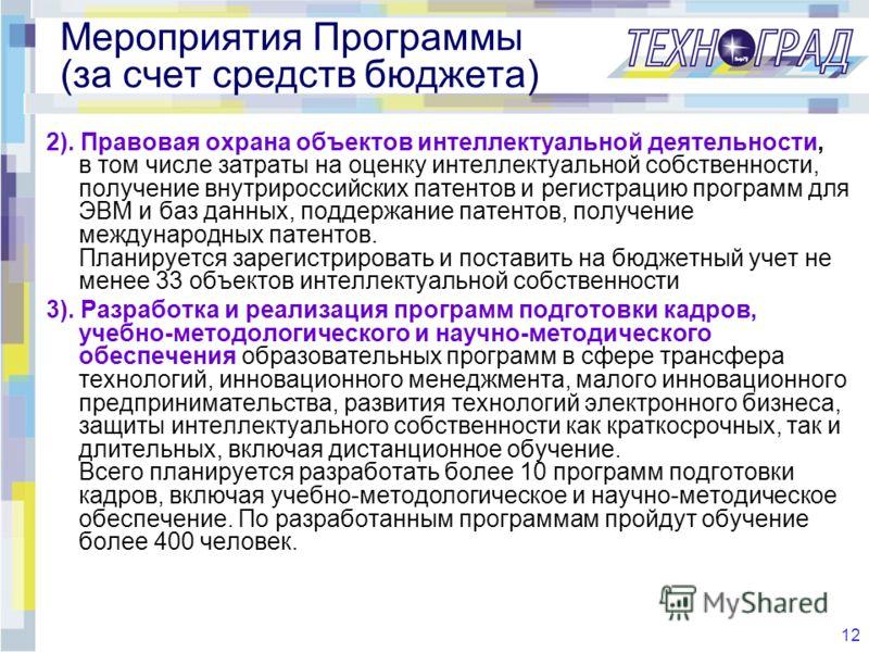 12 Мероприятия Программы (за счет средств бюджета) 2). Правовая охрана объектов интеллектуальной деятельности, в том числе затраты на оценку интеллектуальной собственности, получение внутрироссийских патентов и регистрацию программ для ЭВМ и баз данн