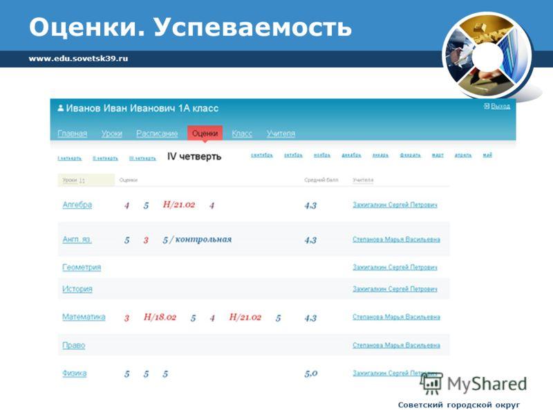 www.edu.sovetsk39.ru Советский городской округ Оценки. Успеваемость