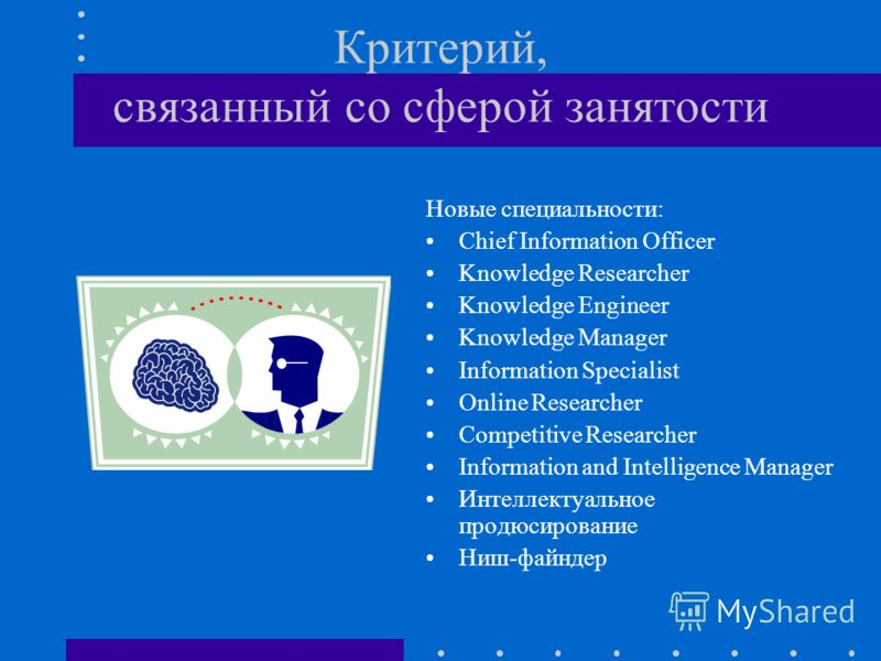 Критерий, связанный со сферой занятости Новые специальности: Chief Information Officer Knowledge Researcher Knowledge Engineer Knowledge Manager Information Specialist Online Researcher Competitive Researcher Information and Intelligence Manager Инте