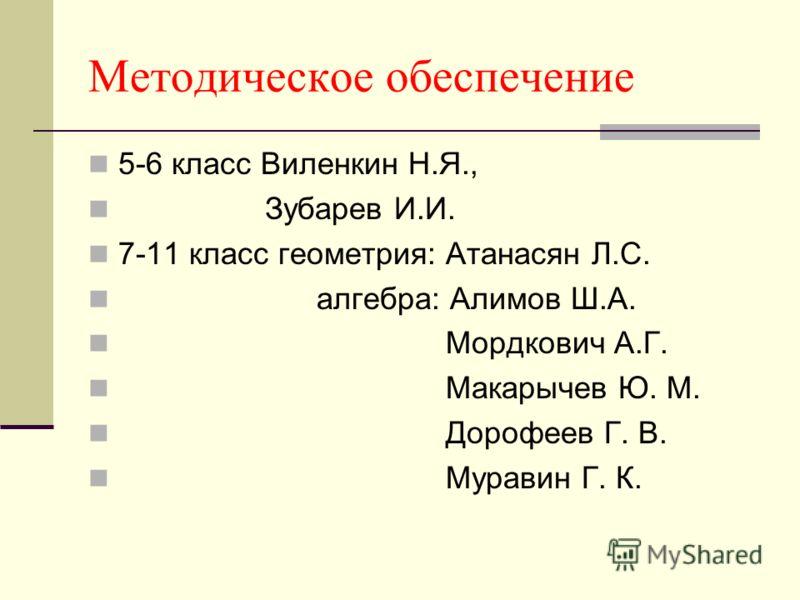 Методическое обеспечение 5-6 класс Виленкин Н.Я., Зубарев И.И. 7-11 класс геометрия: Атанасян Л.С. алгебра: Алимов Ш.А. Мордкович А.Г. Макарычев Ю. М. Дорофеев Г. В. Муравин Г. К.