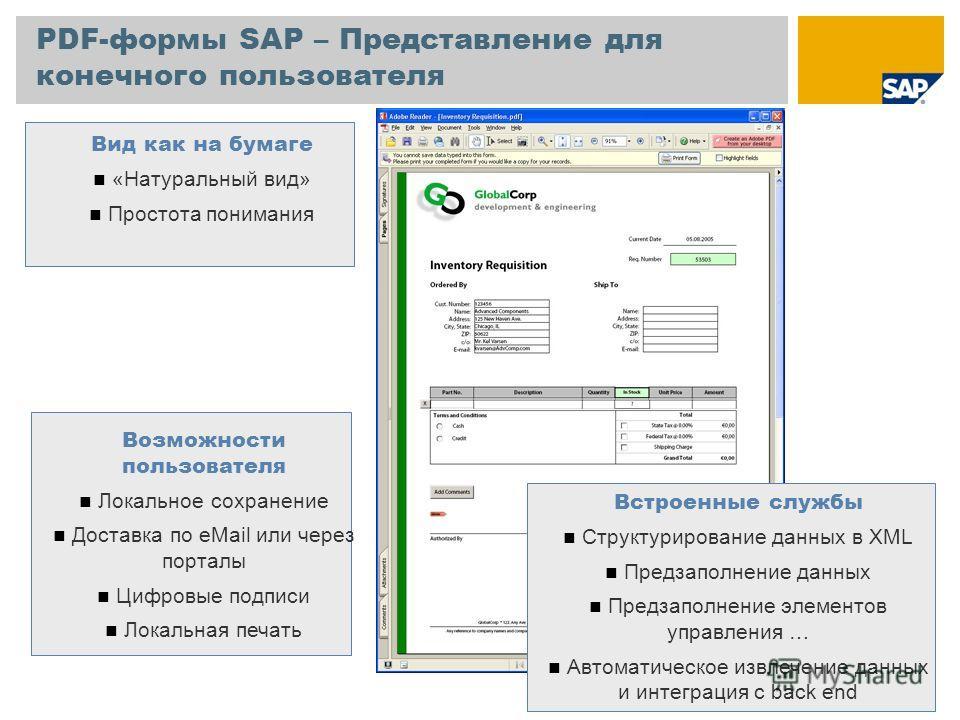 PDF-формы SAP – Представление для конечного пользователя Возможности пользователя Локальное сохранение Доставка по eMail или через порталы Цифровые подписи Локальная печать Встроенные службы Структурирование данных в XML Предзаполнение данных Предзап