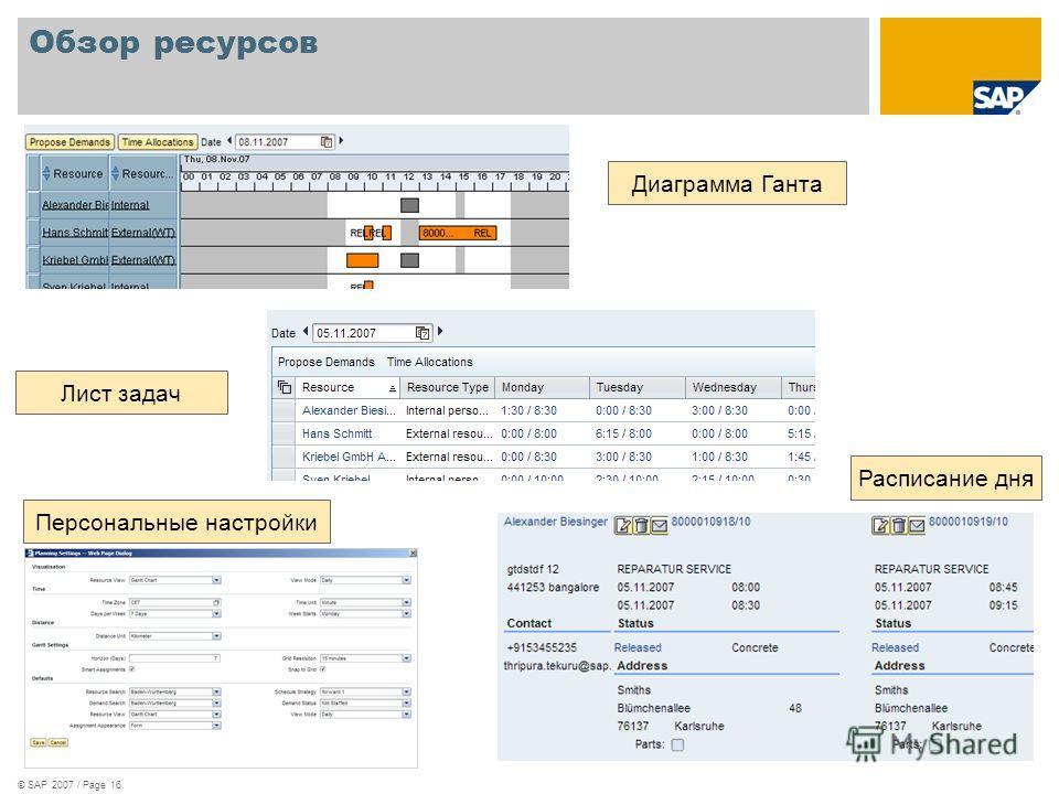 © SAP 2007 / Page 16 Обзор ресурсов Диаграмма Ганта Лист задач Расписание дня Персональные настройки