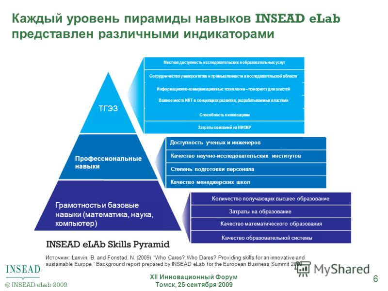 Источник: Lanvin, B. and Fonstad, N. (2009) Who Cares? Who Dares? Providing skills for an innovative and sustainable Europe. Background report prepared by INSEAD eLab for the European Business Summit 2009. Каждый уровень пирамиды навыков INSEAD eLab