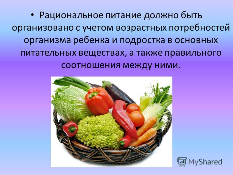 Рациональное питание должно быть организовано с учетом возрастных потребностей организма ребенка и подростка в основных питательных веществах, а также правильного соотношения между ними.