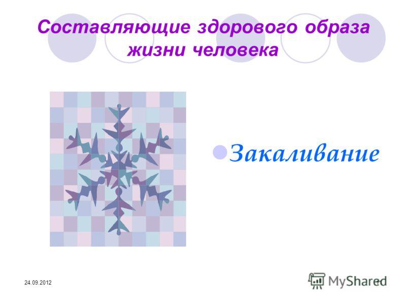 24.09.201211 Составляющие здорового образа жизни человека Закаливание