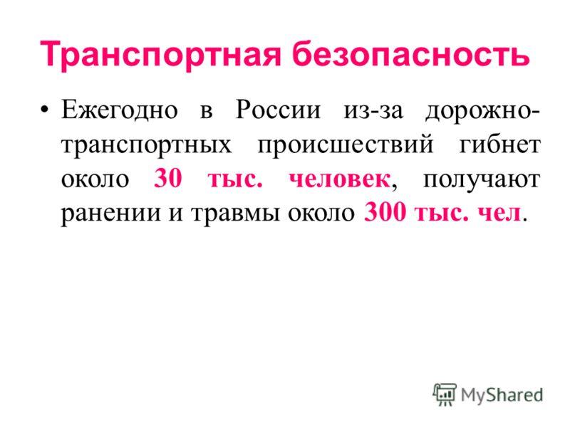 Транспортная безопасность Ежегодно в России из-за дорожно- транспортных происшествий гибнет около 30 тыс. человек, получают ранении и травмы около 300 тыс. чел.