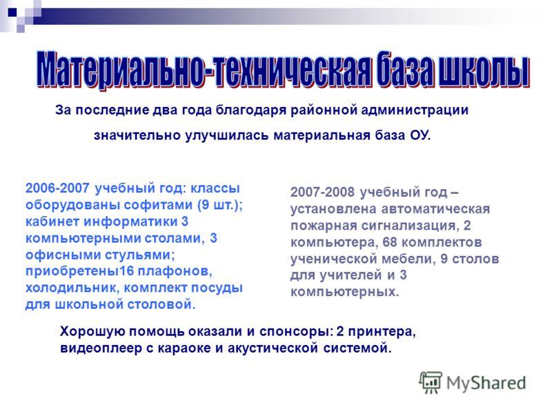За последние два года благодаря районной администрации значительно улучшилась материальная база ОУ. 2006-2007 учебный год: классы оборудованы софитами (9 шт.); кабинет информатики 3 компьютерными столами, 3 офисными стульями; приобретены16 плафонов,