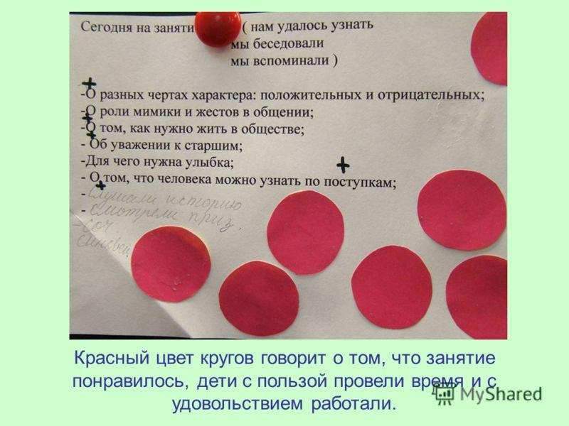 Красный цвет кругов говорит о том, что занятие понравилось, дети с пользой провели время и с удовольствием работали.