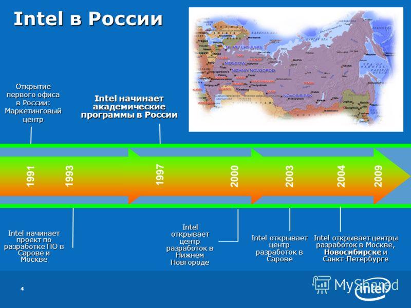 4 Открытие первого офиса в России: Маркетинговый центр Intel начинает проект по разработке ПО в Сарове и Москве 2003200419911993 1997 2000 Intel начинает академические программы в России Intel открывает центр разработок в Нижнем Новгороде Intel откры