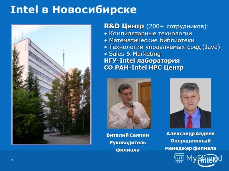 5 Intel в Новосибирске R&D Центр R&D Центр (200+ сотрудников): Компиляторные технологии Компиляторные технологии Математические библиотеки Математические библиотеки Технологии управляемых сред (Java) Технологии управляемых сред (Java) Sales & Marketi
