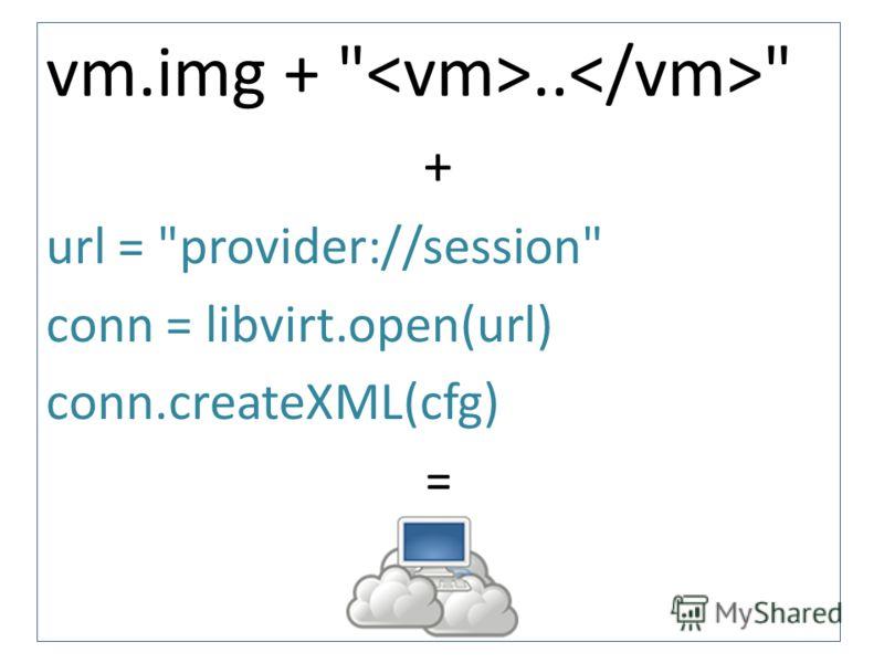 vm.img + ..  + url = provider://session conn = libvirt.open(url) conn.createXML(cfg) =