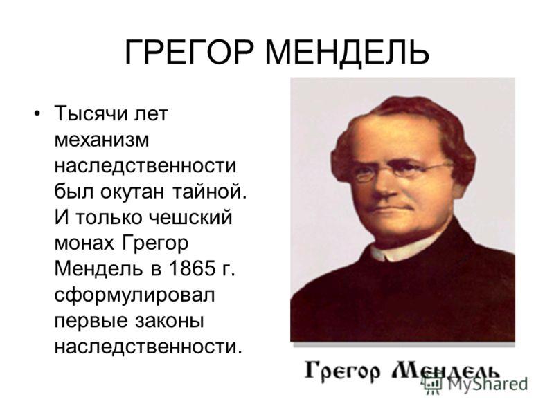 ГРЕГОР МЕНДЕЛЬ Тысячи лет механизм наследственности был окутан тайной. И только чешский монах Грегор Мендель в 1865 г. сформулировал первые законы наследственности.