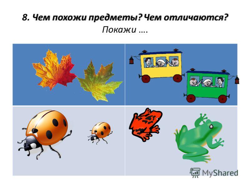 Чем похожи предметы? Чем отличаются?8. Чем похожи предметы? Чем отличаются? Покажи ….