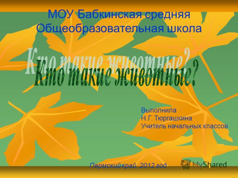 МОУ Бабкинская средняя Общеобразовательная школа Выполнила Н.Г. Тюргашкина Учитель начальных классов Пермский край, 2012 год