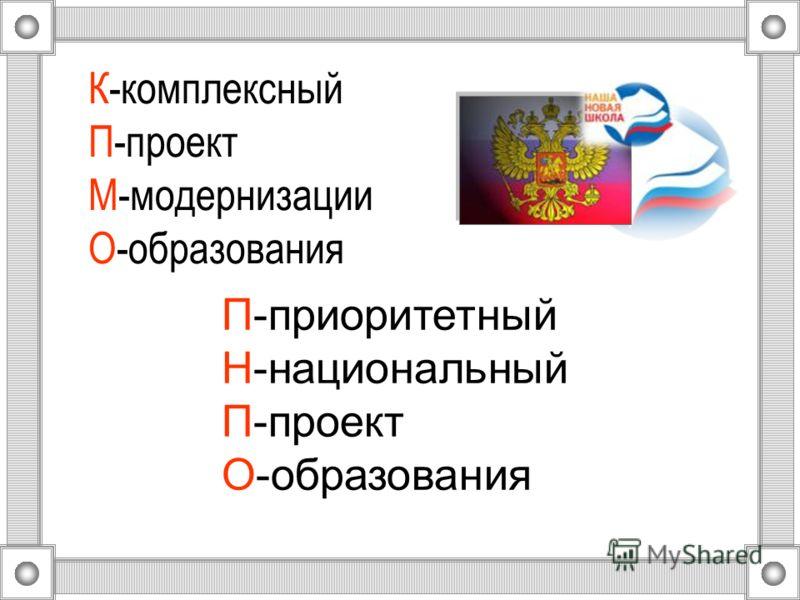 К-комплексный П-проект М-модернизации О-образования П-приоритетный Н-национальный П-проект О-образования