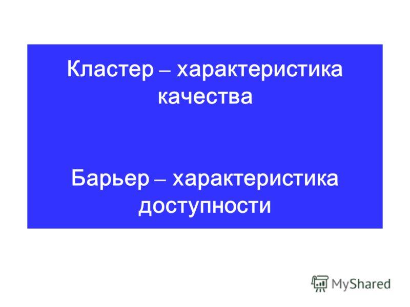 Кластер – характеристика качества Барьер – характеристика доступности