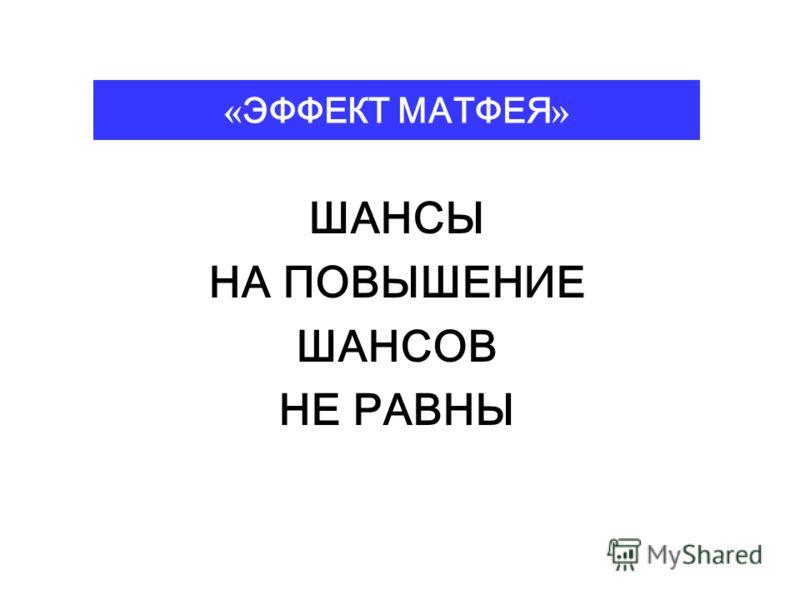 « ЭФФЕКТ МАТФЕЯ » ШАНСЫ НА ПОВЫШЕНИЕ ШАНСОВ НЕ РАВНЫ