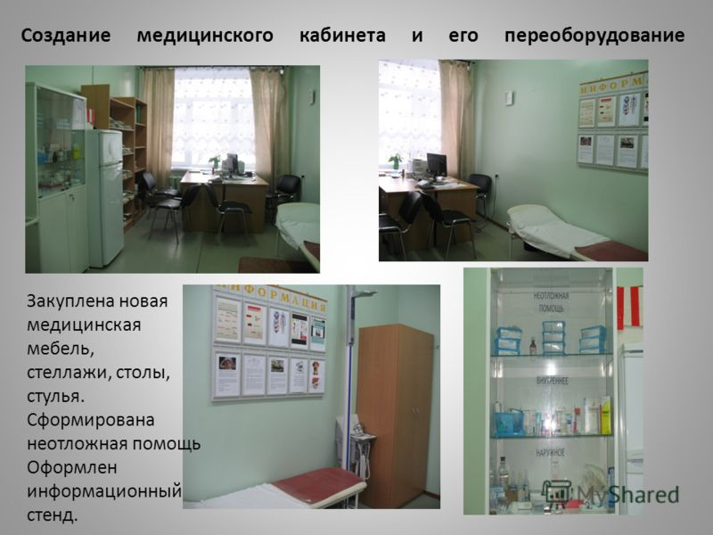 Создание медицинского кабинета и его переоборудование Закуплена новая медицинская мебель, стеллажи, столы, стулья. Сформирована неотложная помощь Оформлен информационный стенд.