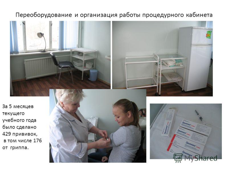 Переоборудование и организация работы процедурного кабинета За 5 месяцев текущего учебного года было сделано 429 прививок, в том числе 176 от гриппа.