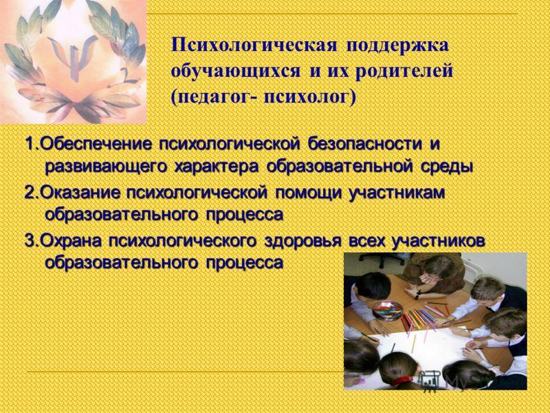 Психологическая поддержка обучающихся и их родителей (педагог- психолог) 1.Обеспечение психологической безопасности и развивающего характера образовательной среды 2.Оказание психологической помощи участникам образовательного процесса 3.Охрана психоло