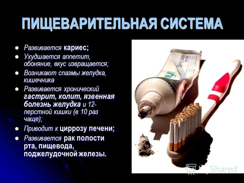 ПИЩЕВАРИТЕЛЬНАЯ СИСТЕМА Развивается кариес; Ухудшается аппетит, обоняние, вкус извращается; Возникают спазмы желудка, кишечника Развивается хронический гастрит, колит, язвенная болезнь желудка и 12- перстной кишки (в 10 раз чаще); Приводит к циррозу