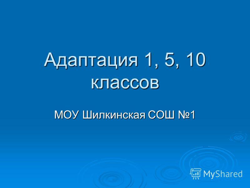 Адаптация 1, 5, 10 классов МОУ Шилкинская СОШ 1