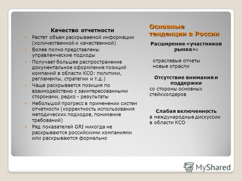 Основные тенденции в России Качество отчетности Растет объем раскрываемой информации (количественной и качественной) Более полно представлены управленческие подходы Получает большее распространение документальное оформление позиций компаний в области