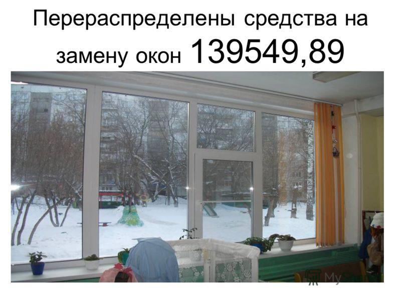 Перераспределены средства на замену окон 139549,89