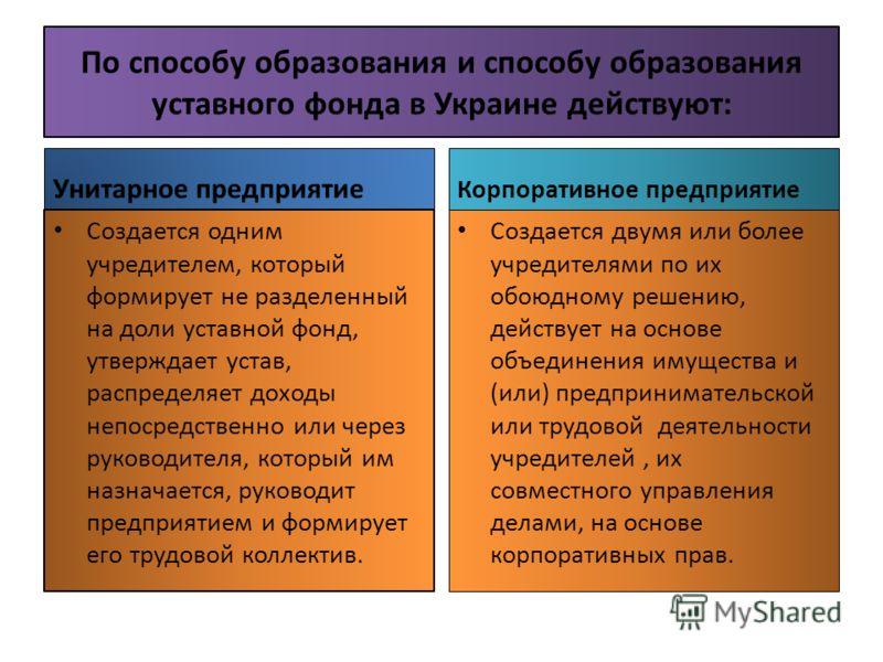По способу образования и способу образования уставного фонда в Украине действуют: Унитарное предприятие Создается одним учредителем, который формирует не разделенный на доли уставной фонд, утверждает устав, распределяет доходы непосредственно или чер