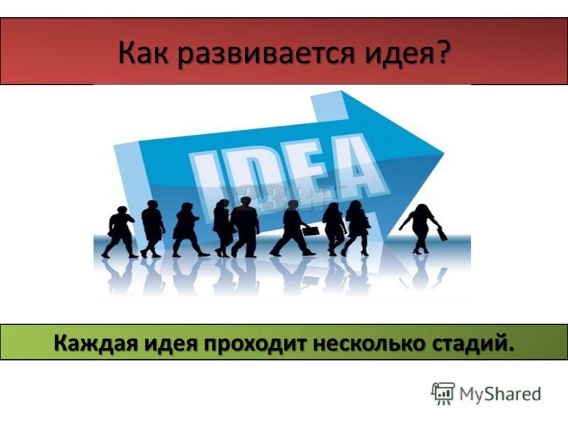 Как развивается идея? Каждая идея проходит несколько стадий.