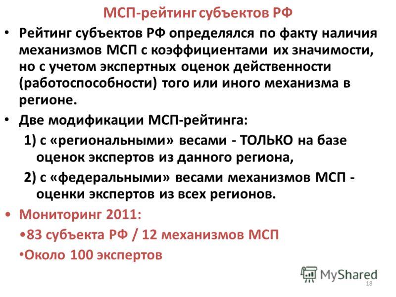 18 МСП-рейтинг субъектов РФ Рейтинг субъектов РФ определялся по факту наличия механизмов МСП с коэффициентами их значимости, но с учетом экспертных оценок действенности (работоспособности) того или иного механизма в регионе. Две модификации МСП-рейти