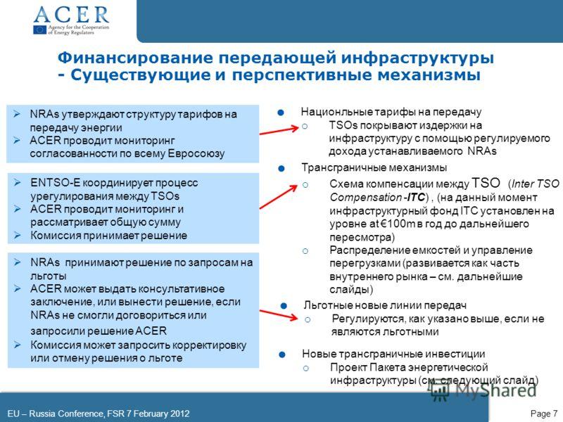 EU – Russia Conference, FSR 7 February 2012Page 7. Трансграничные механизмы o Схема компенсации между TSO (Inter TSO Compensation -ITC), (на данный момент инфраструктурный фонд ITC установлен на уровне at 100m в год до дальнейшего пересмотра) o Распр
