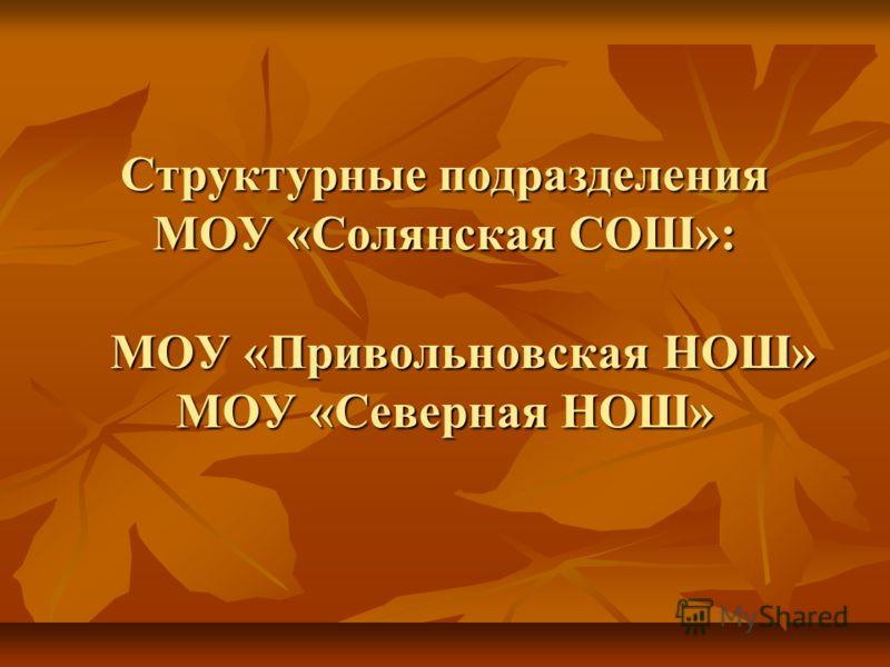 Структурные подразделения МОУ «Солянская СОШ»: МОУ «Привольновская НОШ» МОУ «Северная НОШ»