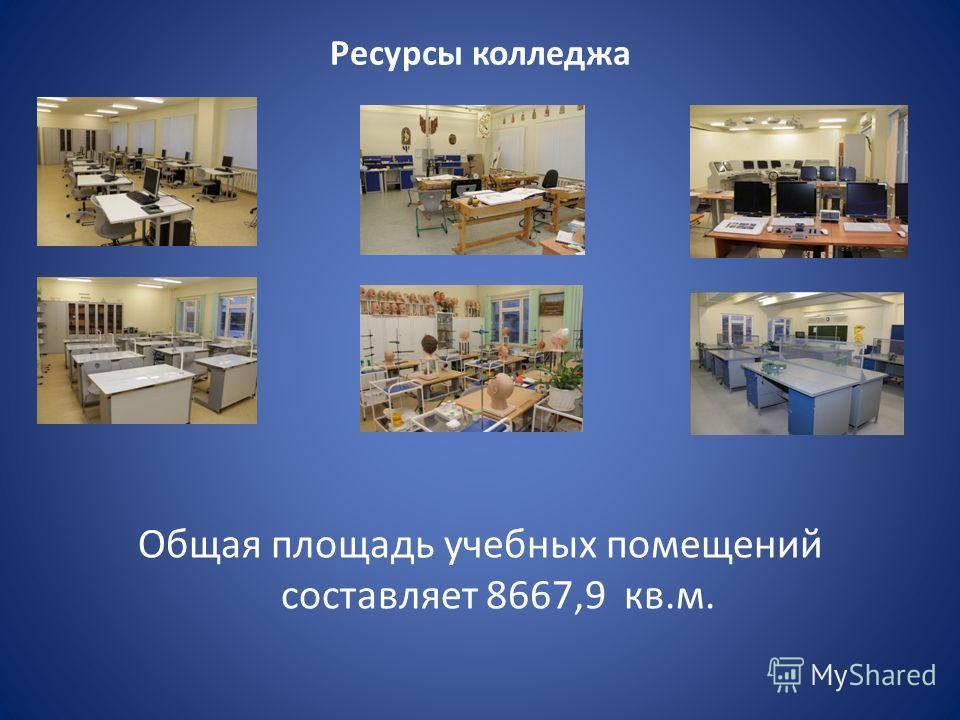 Ресурсы колледжа Общая площадь учебных помещений составляет 8667,9 кв.м.