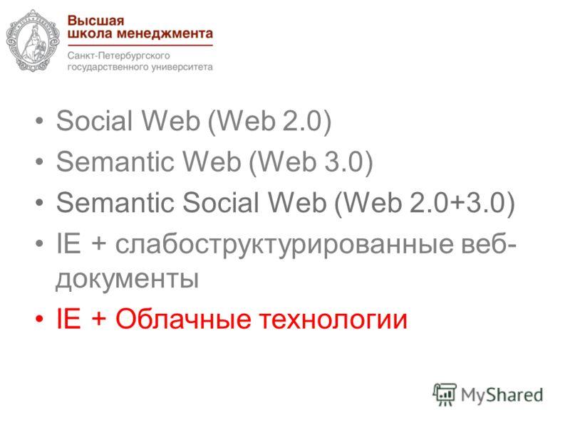 Social Web (Web 2.0) Semantic Web (Web 3.0) Semantic Social Web (Web 2.0+3.0) IE + cлабоструктурированные веб- документы IE + Облачные технологии