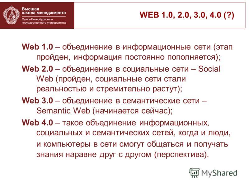 Web 1.0 – объединение в информационные сети (этап пройден, информация постоянно пополняется); Web 2.0 – объединение в социальные сети – Social Web (пройден, социальные сети стали реальностью и стремительно растут); Web 3.0 – объединение в семантическ
