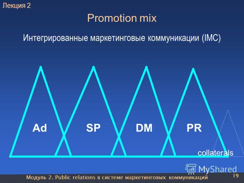 Модуль 2. Public relations в системе маркетинговых коммуникаций 19 Promotion mix AdSPDMPR Интегрированные маркетинговые коммуникации (IMC) collaterals 19 Лекция 2