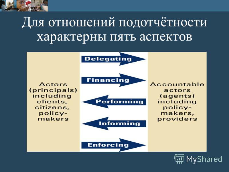 Для отношений подотчётности характерны пять аспектов