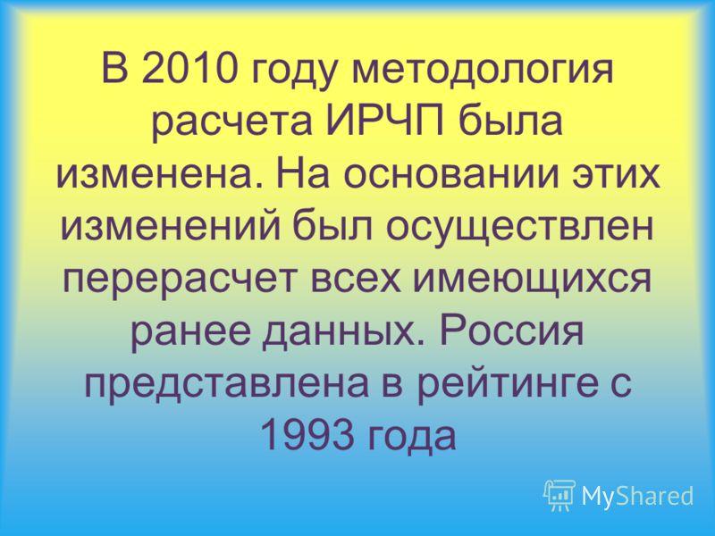 В 2010 году методология расчета ИРЧП была изменена. На основании этих изменений был осуществлен перерасчет всех имеющихся ранее данных. Россия представлена в рейтинге с 1993 года